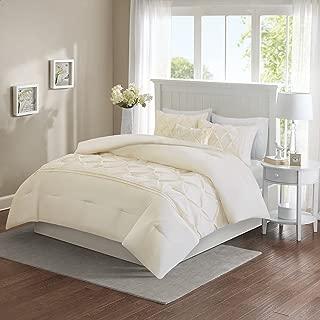 Comfort Spaces Cavoy 5 Piece Comforter Set Ultra Soft Hypoallergenic Microfiber Tufted Pattern Bedding, Queen, Ivory