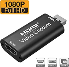 EDIMENS Capture Card, HDMI to USB 2.0 Full HD High Definition 1080p 30fps Game Video Capture Card for Live Streaming, Gaming, PS4, Nintendo Switch, Xbox One, PC