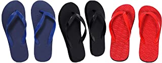 Red, Dark Blue And Black Combo 3 Women's House Slippers