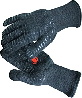 GRILL HEAT AID Extreme Heat Resistant BBQ Gloves. High�Dexterity Handling Hot Food Right on Cast Iron, Barbecue or Smoker. Multi-Purpose Fireproof Indoor Outdoor Use For Men and Women. One Size, Black