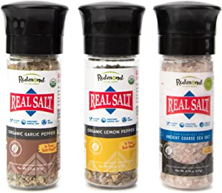 Redmond Real Sea Salt - Natural Unrefined Organic Gluten Free, Coarse Salt with Coarse Grinder (Lemon Pepper, Garlic Pepper, Original)