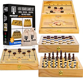 4 in 1 Board Game Set - Extra Large Sling Puck Game Wooden Chess Board Sets, Checkers Board Game for Adults and Nine Mens ...