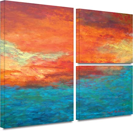 ArtWall Herb Dickinson 'Lake Reflections II' Flag 3-Piece Gallery Wrapped Canvas Artwork, 36 by 48-Inch