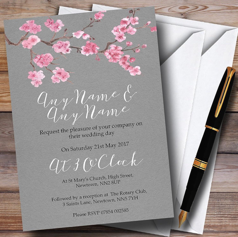 Rustic Vintage Dark Grey & Pink Blossom Personalised Evening Reception Invita...
