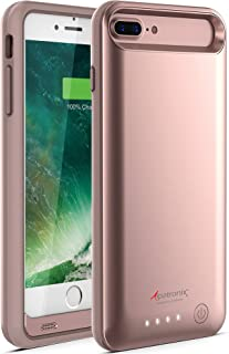 Alpatronix iPhone 8 Plus/7 Plus Battery Case, 4200mAh Slim Portable Protective Extended Charger Cover Compatible with iPhone 8 Plus & iPhone 7 Plus (5.5 inch) BX170plus - (Rose Gold)