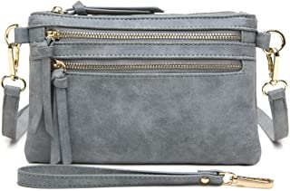 Aitbags Multi-Zipper Pocket Crossbody Handbag Lightweight Purse Functional Clutch with Wristlet