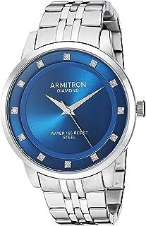 ساعة Armitron للرجال 20/5383NVSV بسوار فضي مزين بالألماس