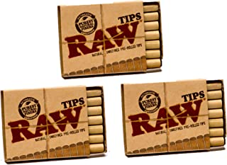 Raw Natural Unrefined Pre-Rolled Filter Tips 3 Pack (21 Per Box)