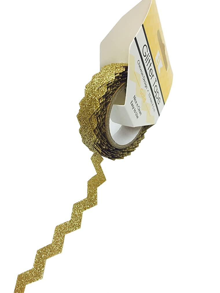 Best Creation Glitter Tape Design Chevron - Gold, 15Mm5M