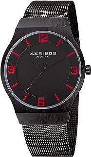 Akribos XXIV Omni Mens Casual Watch - Brushed Center Dial - Japanese Quartz - Stainless Steel Mesh Strap - AK851