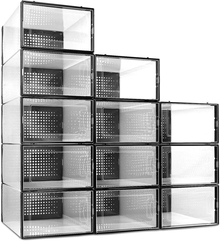 Cheerace 12 Pack Shoe Storage organizer Plasti Clear shoe 新入荷 激安セール 流行 Boxes