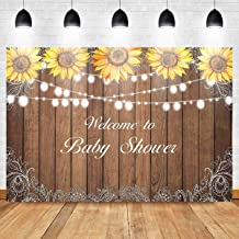 Mocsicka Sunflower Rustic Wood Backdrops Children Baby Shower Birthday Party Photography Background 7X5ft Vinyl Sunflower Theme Party Background