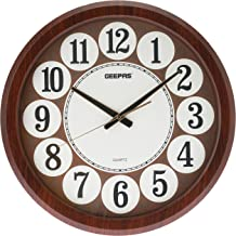 Geepas GWC4803 Wall Clock, White and Brown, AA, Wood