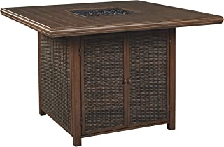 Signature Design by Ashley P750-665 Paradise Trail Square Bar Table w/Fire Pit, Medium Brown