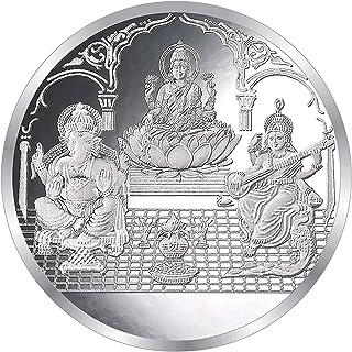 Shri Balaji Abhushan Bhandar Laxmiji Ganeshji Saraswatiji Print Round Silver Shape Coin for wedding gifts (50 gms, Silver)