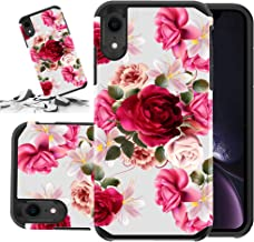 Red Floral Phone Case Compatible for [ iPhone XR ] Storm Buy [Shock Absorption] Dual Layer Heavy Duty Pink Rose Protective Girl Women Cover (Red- IPXr)