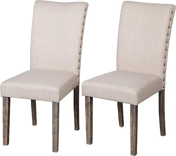 夹层专柜 90118GRY PR Burntwood 现代面料软垫 Parson 餐厅椅子 2 对灰色
