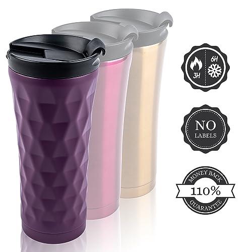 PureDesign Inox Tasses de café Voyage blanc & noir 450ml (0.45L) ? 110% Satisfait ou Remboursé. Isolé/acier inoxydable/isotherme/thermique - Insulated Coffee to Go Mug