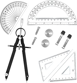 5 Piece Geometry School Set,with Quality Compass, Set Squares, Protractor,Drawing Compass Math Geometry Tools (5 pcs-Compass-Black)