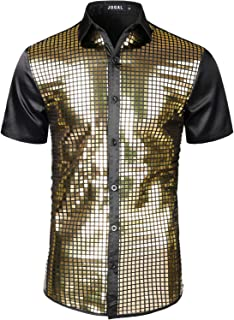 Mens Dress Shirt Silver Sequins Short Sleeve Button Down 70s Disco Shirt Party Costume