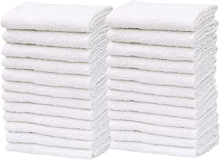 """GOLD TEXTILES Pack of 48 Washcloth Kitchen Towels,100% Natural Cotton, (12""""x12"""") Hand Towels, Commercial Grade Washcloth, Machine Washable Cleaning Rags, Wash Cloths for Bathroom bu (48, White)"""