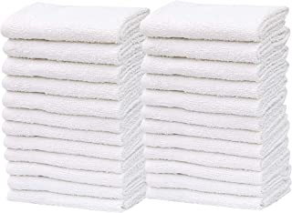 Pack of 120 Washcloth Kitchen Towels Cotton Blend (12x12 Inches) Commercial Grade , Machine Washable Cleaning Rags (120, W...