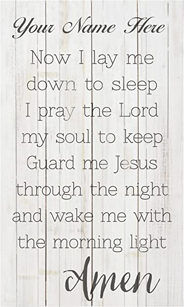 P Graham Dunn Now I Lay Me Down To Sleep Prayer 14 X 24 Distressed Pallet Wood Style Customized Wall Plaque