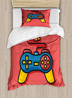 Old School Colorful Videogame Controller with Minimalist Style D-Pad and Triggers Multicolor Lunarable Gamer Queen Size Duvet Cover Set Decorative 3 Piece Bedding Set with 2 Pillow Shams