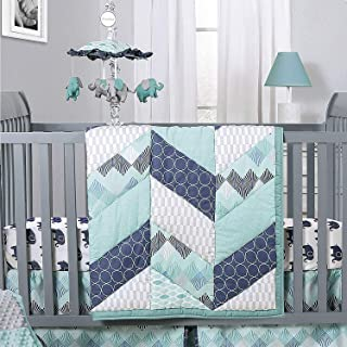 Mosaic Elephant and Geometric 5 Piece Baby Boy Crib Bedding Sets
