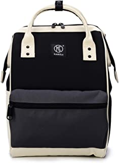 Kah&Kee Polyester Travel Backpack Functional Anti-theft School Laptop for Women Men (Black/Grey, Large)