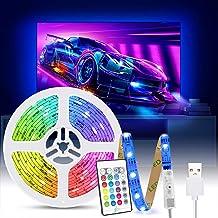 LED Strip Lights 2M, Tasmor USB 5050 RGB LED-achtergrondverlichting voor TV met Afstandsbediening, IP65 Waterbestendig LED...
