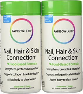Rainbow Light Nail, Hair and Skin Connection Food-Based Tablets, 60-Count Bottles (Pack of 2)