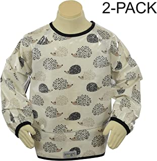 Goo-Goo Baby 2 Piece Perfect Pocket Smock in Hedgehogs, White/Black/Taupe, Large