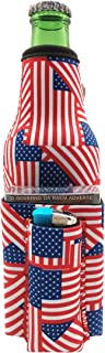 Beer Bottle Chuggie With Two Pockets - Holds Cigarette And Lighter, Phone, Keys, 3mm Neoprene (American Flag Pattern)