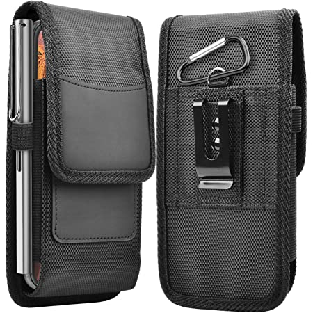 Takfox Phone Holster for Samsung Galaxy S21 S20 Ultra S20 Plus S10+ S9 S8 J7 J3, A01 A11 A21 A51 A71 A10e A20 A30 A50, Stylo 6 5, Nylon Cell Phone Belt Clip Holster Carrying Pouch w Card Holder,Black