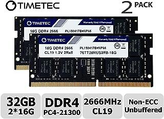 Timetec Hynix IC 32GB KIT (2x16GB) DDR4 2666MHz PC4-21300 Unbuffered Non-ECC 1.2V CL19 2Rx8 Dual Rank 260 Pin SODIMM Laptop Notebook Computer Memory RAM Module Upgrade (32GB KIT (2x16GB))