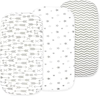 Baby Bassinet Sheet Set for Boy and Girl, 3 Pack, Universal Fitted for Oval, Hourglass & Rectangle Bassinet Mattress, Grey
