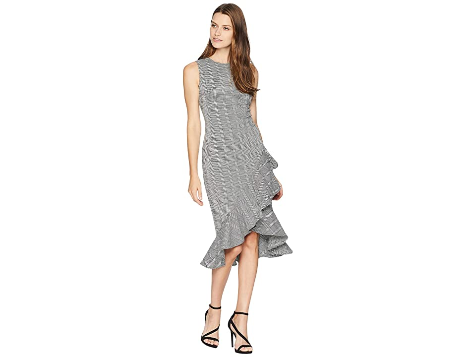Calvin Klein Plaid Ruffle Hem Dress CD8E21QW (Black/Cream) Women