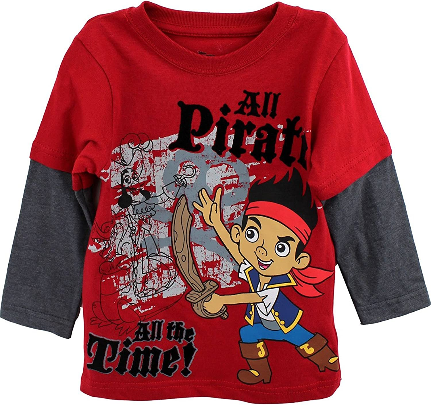 Jake and The Never Land Pirate Official Boys T-Shirt Long Sleeve Age 3//8 Years