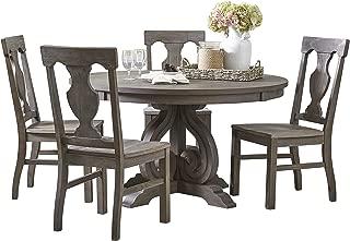 Homelegance 5-Piece Round Dining Table Set, Dark Pewter
