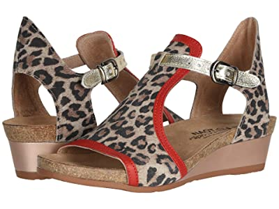 Naot Fiona (Cheetah Suede/Kiss Red Leather/Radiant Gold Leather) Women