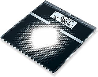 Beurer BG21 - Báscula de baño diagnóstica de cristal, pantalla LCD dos línea s, memoria para 10 usuarios, color negro