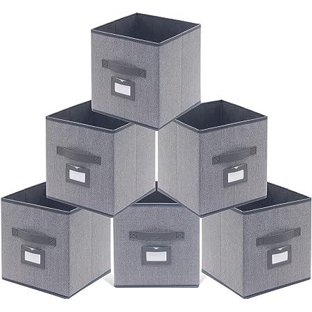 homyfort Lot de 6 Boîtes/Tiroirs en Tissu Cube de Rangement Pliable Coffre pour Linge, Jouets, Vêtement 30 x 30 x 30 cm, Lin Gris, XDB06PL
