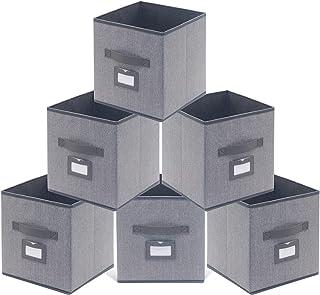 comprar comparacion homyfort Juego de 6 Caja de Almacenaje, Cajas de Juguetes, Caja de Tela para Almacenaje Cubos Plegable, con Etiqueta y Man...