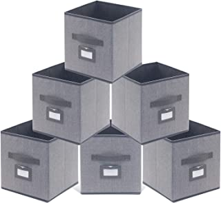Onlyeasy Fabric Foldable Storage Cubes Bins Boxes with Leather Handles - Durable Storage Bins for Shelves Cube Cubby Bookcase Organizer Pack of 6, 10.5 x 10.5 x 11 inch, Linen-Like Grey, MXDBS06PLP