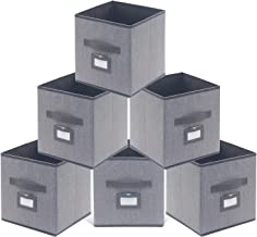 Onlyeasy Fabric Foldable Storage Cubes Bins Boxes with Leather Handles - Durable Storage Bins for Shelves Cube Cubby Bookc...