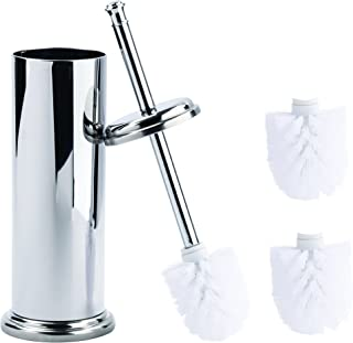 MAYA Elegant Toilet Brush and Canister Now with A Metal Handle and 2 Replacement Heads, Compact Design for Small Spaces, Tapered Head, Rust Resistant (Chrome)