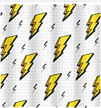 JXHLMS Shower Curtain Pattern Retro Vintage 80S Lightning Bolts Ideal and 1980S Home Bathroom Decor Polyester Fabric Waterproof 66W X 72L Set with Hooks