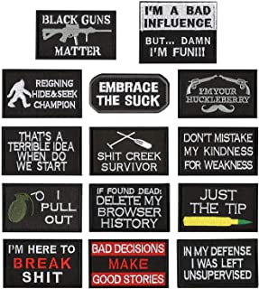 WZT 14 Pieces Funny Tactical Military Morale Patch Full Embroidery Patch Set for Caps,Bags,Backpacks,Clothes,Vest,Military Uniforms,Tactical Gears Etc.
