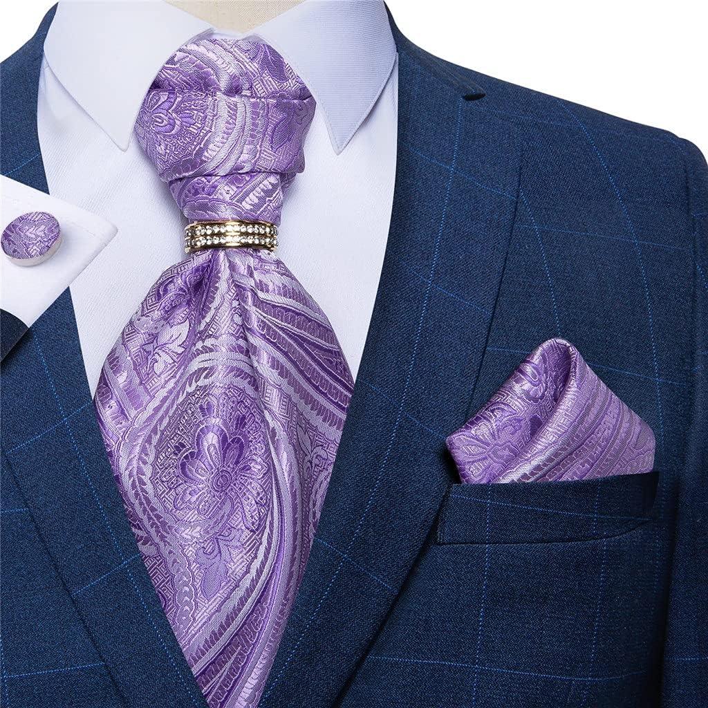 NJBYX Wedding Party Men Silk Tie Set Purple Men Cravat Tie Handkerchief Cufflinks 4pc Set (Color : Purple, Size : One size)